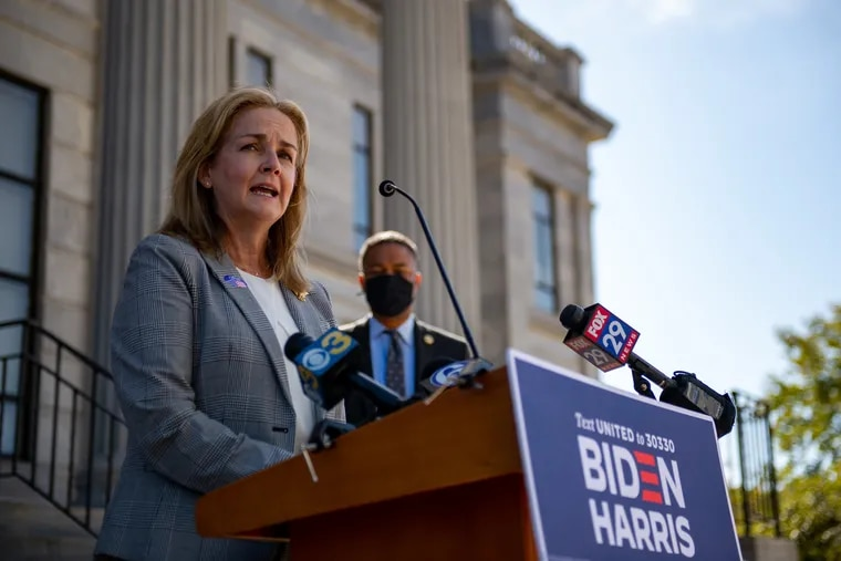 U.S. Rep. Madeleine Dean (D., Pa.) outside the Montgomery County courthouse in Norristown last October.