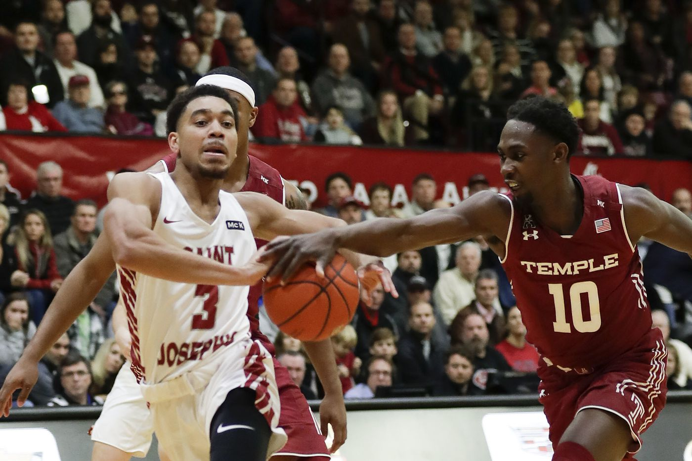 Temple basketball finds three-point range just in time to beat St. Joseph's