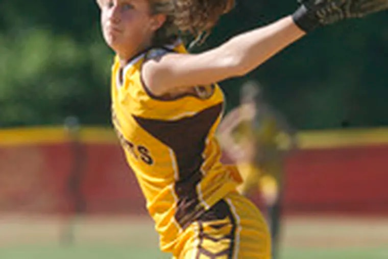 St. Hubert's pitcher Heather Brabazon started out shaky but settled down and hurled a three-hitter with eight strikeouts.
