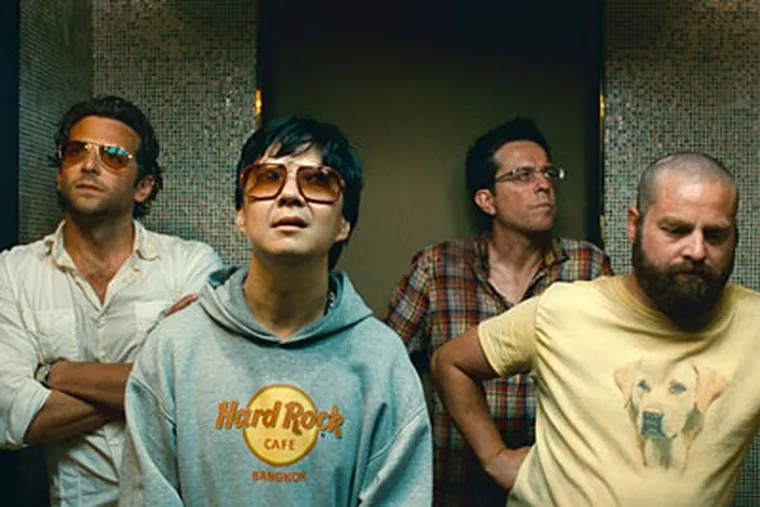 """In a scene from """"The Hangover, Part II"""" (from left): Bradley Cooper, Ken Jeong, Ed Helms, and Zach Galifianakis. This time, Helms' character, Stu, is the groom."""