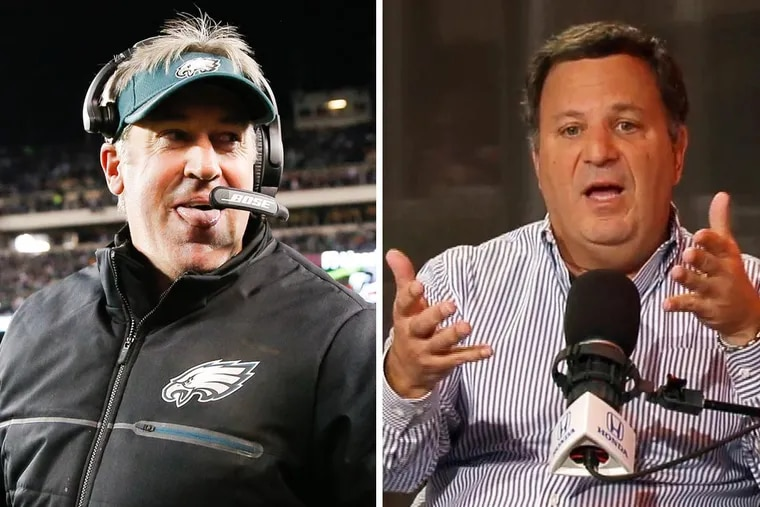Eagles head coach Doug Pederson (left) has been a season-long target of former NFL general manager Michael Lombardi, who now works for The Ringer.