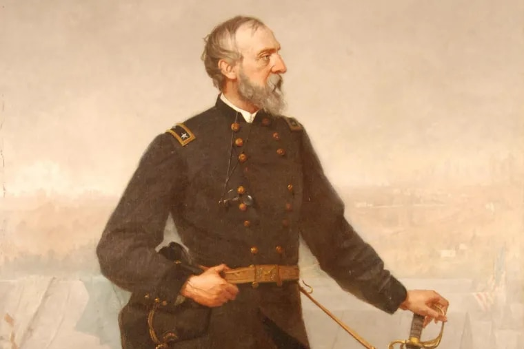 A painting of Gen. George G. Meade at Gettysburg, painted by Bucks County artist Thomas Hicks in 1876.