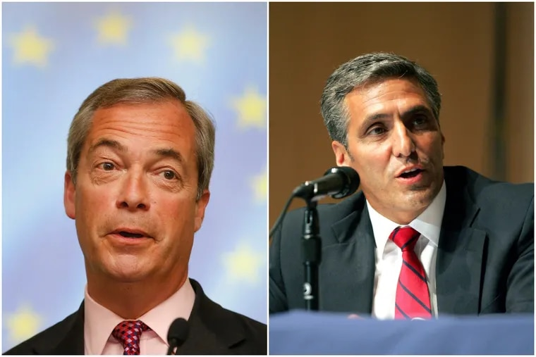 Nigel Farage (left) the former leader of the U.K. Independence Party, will appear with U.S. Rep. Lou Barletta at a campaign fundraiser in Harveys Lake, Luzerne County, on July 20.