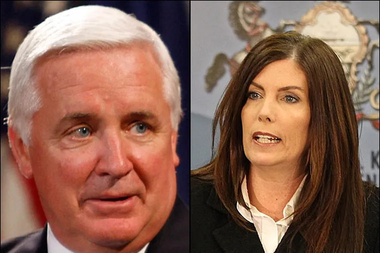 Gov. Tom Corbett on Tuesday disputed an earlier comment by Attorney General Kathleen Kane. He said it was 'misleading' for her to suggest that he chose not to prosecute a corruption sting that targeted Philadelphia elected officials. (File photos)