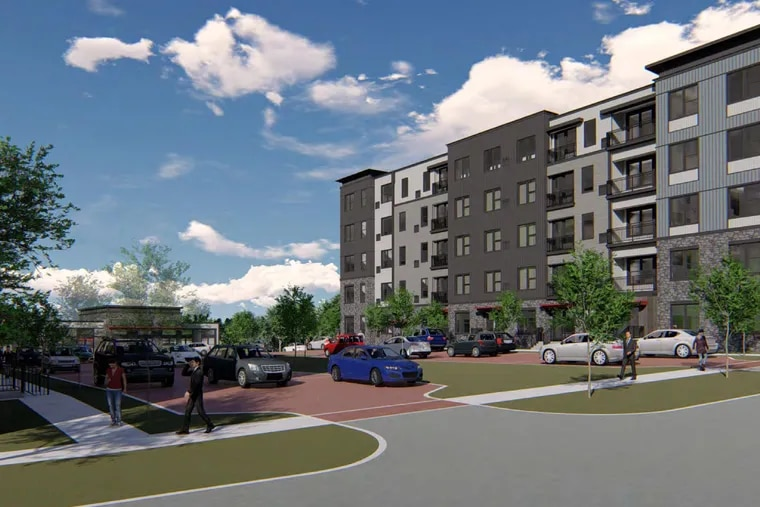Artist's rendering of the 4301 Woodhaven Rd. complex's central driveway, as seen from street level looking toward Woodhaven Road.