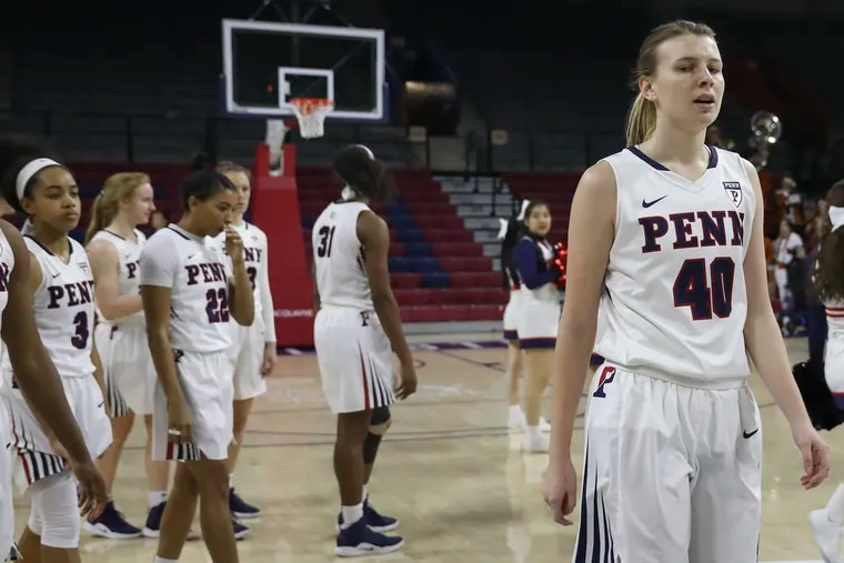 Emily Anderson and her Quakers teammates, pictured after a loss to Princeton in February of last season, dropped their first game of the 2019-20 campaign to Duke on Friday.