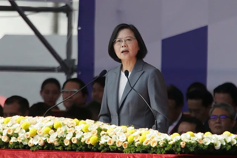 """Taiwan President Tsai Ing-wen delivers a speech during National Day celebrations in front of the Presidential Building in Taipei, Taiwan, last month. In the national day address, President Tsai said China was threatening the island """"nonstop"""" and posing a major challenge to regional peace and stability."""