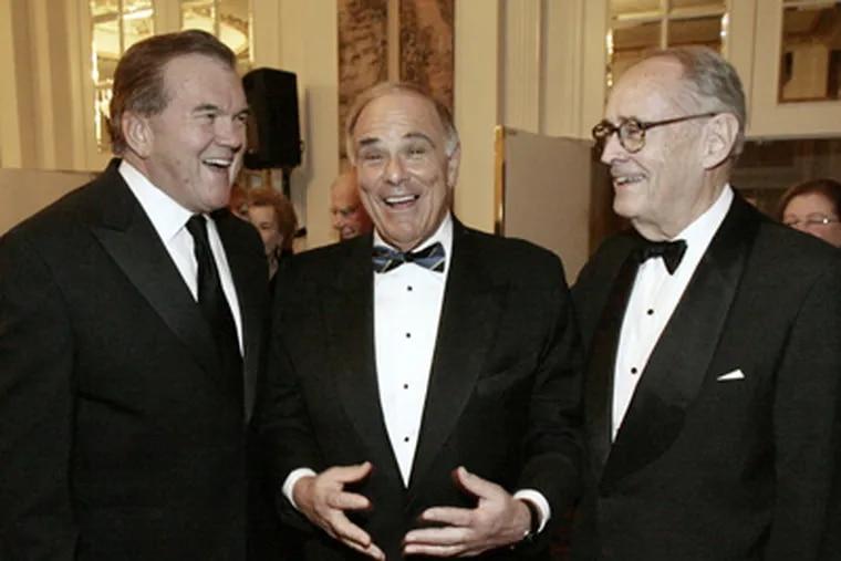 <b>A gubernatorial trio:</b> Gov. Rendell is flanked by former Gov. Tom Ridge (left) and former Gov. Dick Thornburgh. (ELIZABETH ROBERTSON / Staff Photographer)