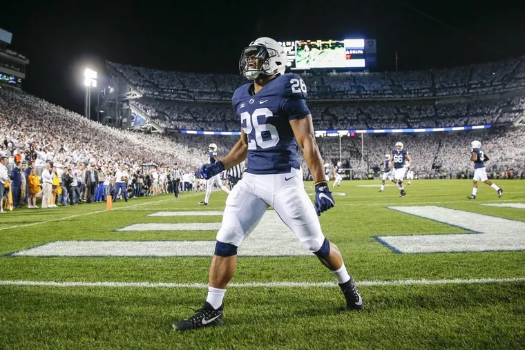 Penn State running back Saquon Barkley after running for a first-quarter touchdown against Michigan on Oct. 21.