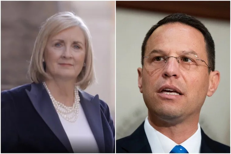 Heather Heidelbaugh, left, a Pittsburgh trial attorney, is the Republican nominee challenging Pennsylvania Attorney General Josh Shapiro, right, a Montgomery County Democrat seeking a second term this year.
