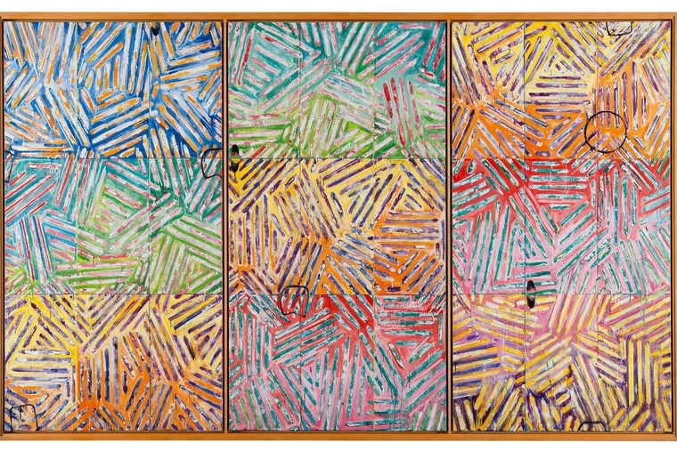 """Usuyuki,"" 1982, by Jasper Johns. Encaustic on canvas (three panels)"