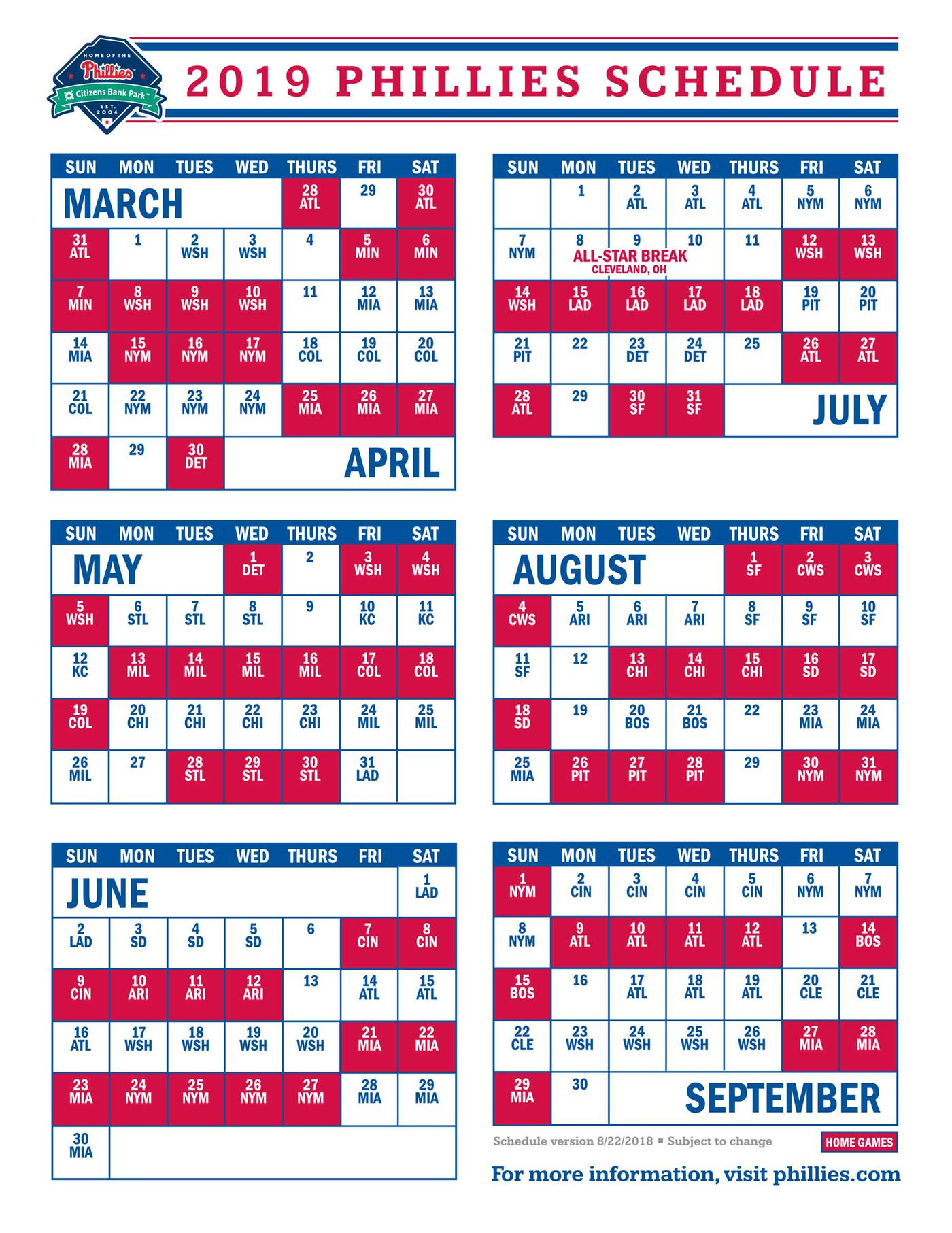 2019 Braves Schedule Phillies to open 2019 schedule against the Braves