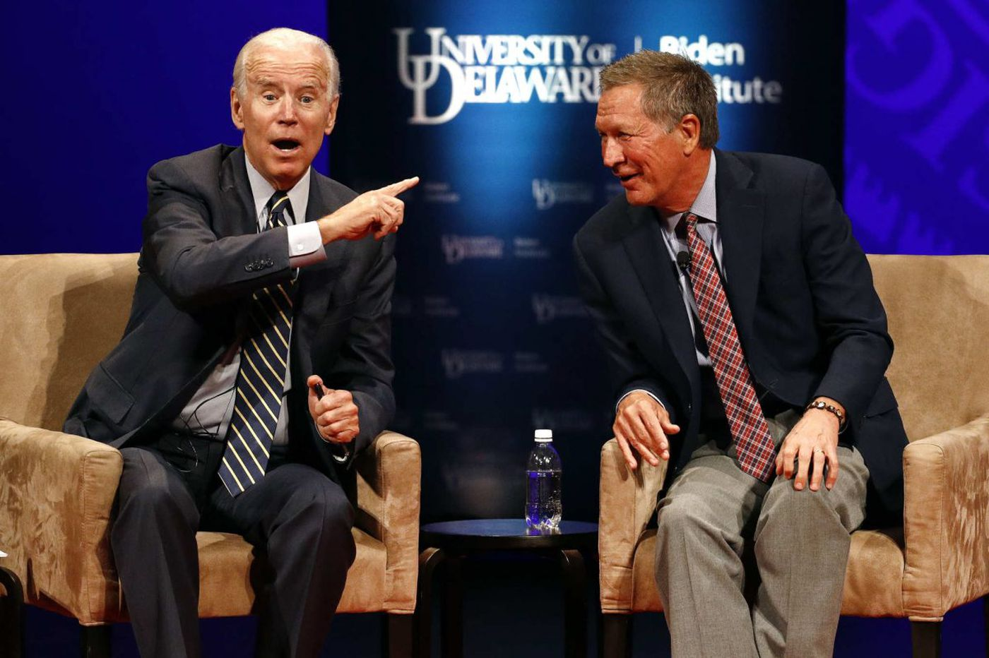 John Kasich, Joe Biden talk civility at UDel., stay silent on 2020