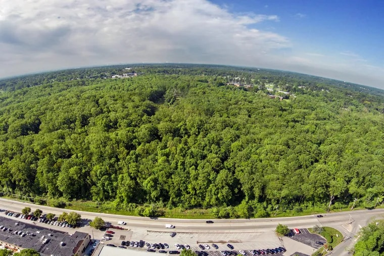 An aerial view of the 213 acres that the Archdiocese of Philadelphia sold to Carlino Commercial Development. In the foreground, the photo shows Reed Road. The Don Guanella Village and  school is pictured in the background.