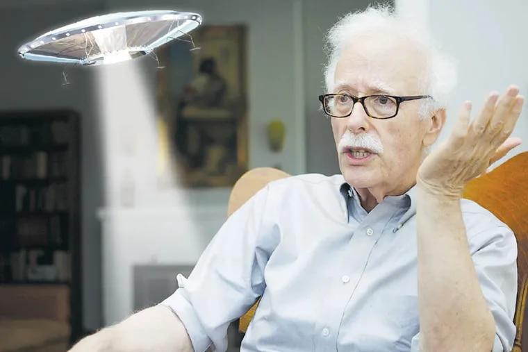Retired Temple professor David Jacob in his Wyndmoor home.