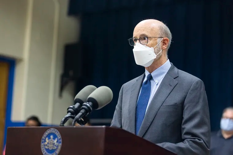 Gov. Tom Wolf speaks on masking, pandemic schooling, and the state of education at a news conference at Hancock Elementary School in Norristown.