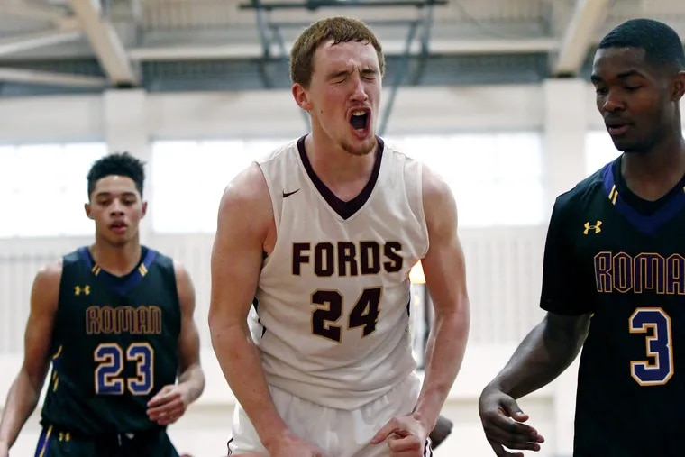 Haverford School's Christian Ray exults after the Fords hit a three-pointer against Roman Catholic in the fourth quarter of the championship game of the Don McBride Classic basketball tournament Saturday, Dec. 10, 2016 at Haverford. Roman went on to win, 66-60.