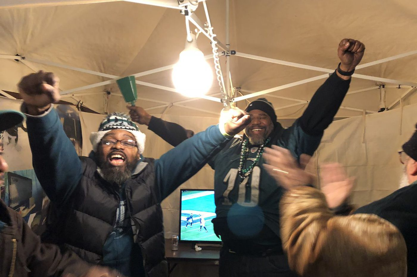 Outside the Linc, a sea of frozen jubilation after Eagles victory