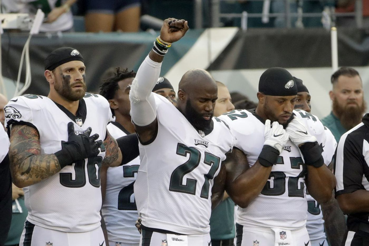Eagles' Chris Long wraps arm around Malcolm Jenkins during national anthem: 'Good time for people that look like me' to fight for equality