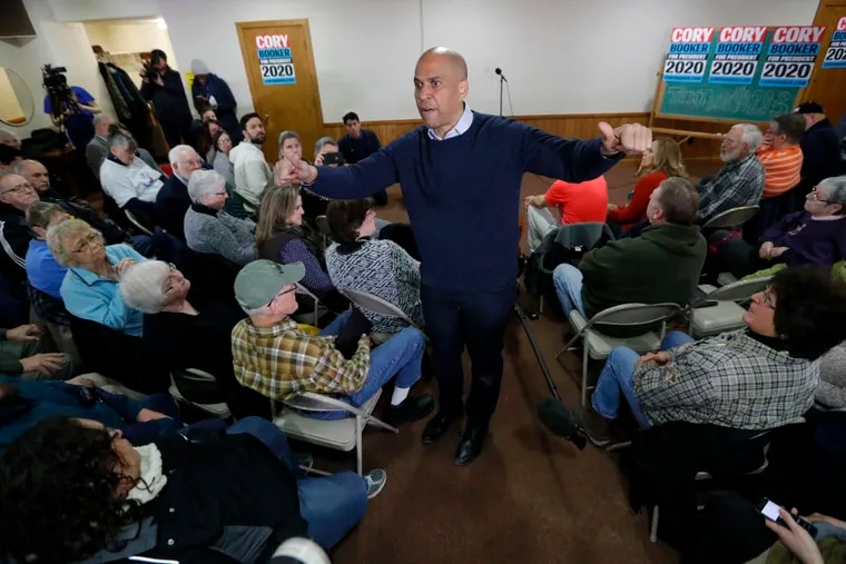 Sen. Cory Booker (D., N.J.) speaks during a meet and greet with local residents at the First Congregational United Church of Christ, Friday, Feb. 8, 2019, in Mason City, Iowa.