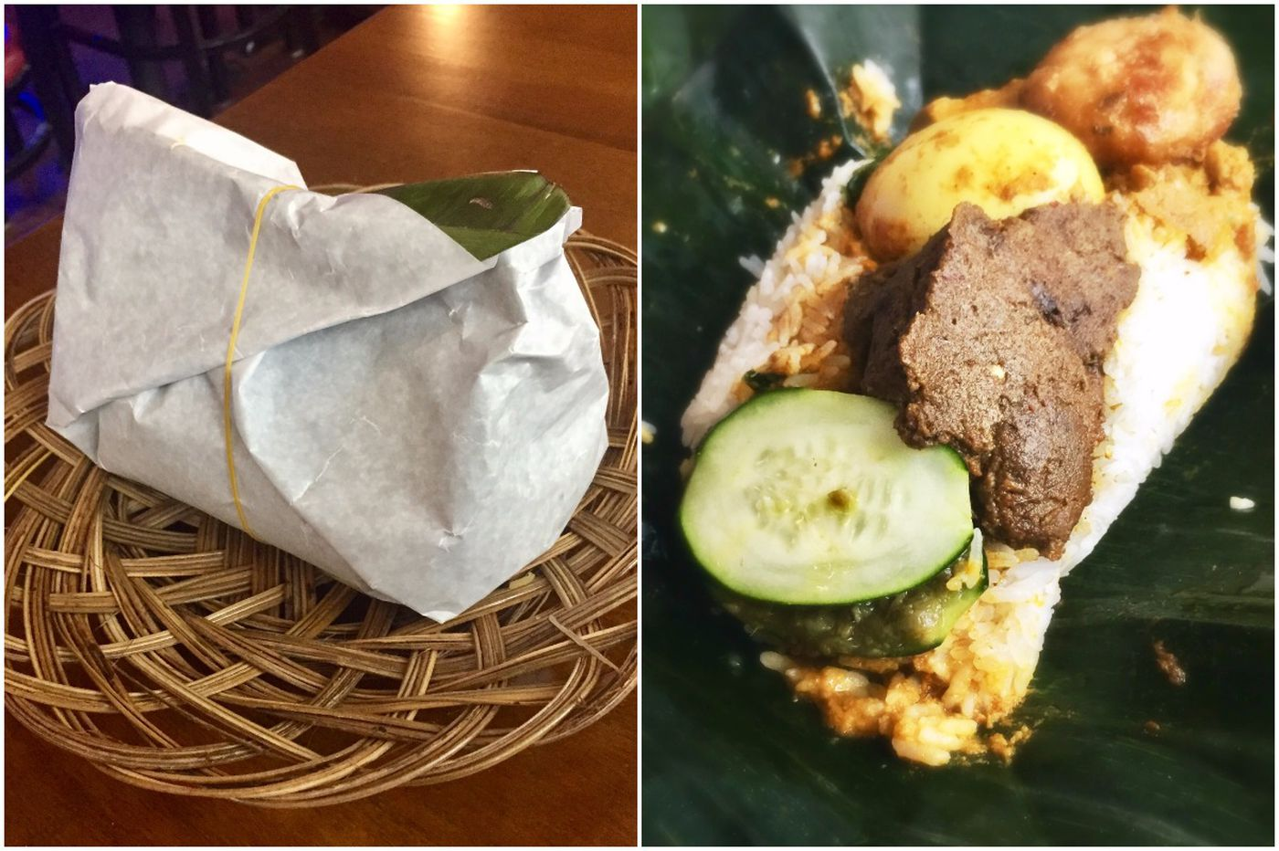 Nature's lunch box: a banana leaf holds spicy Indonesian feast