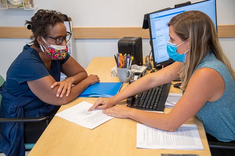 Alexandra Merlino, a speech language pathologist, conduct a cognitive therapy with patient Angelique Deshields.