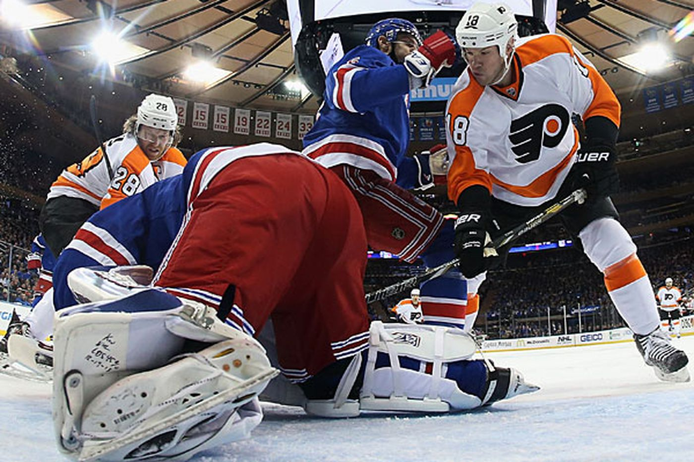 Flyers Notes: Flyers' top line stymied again by Rangers