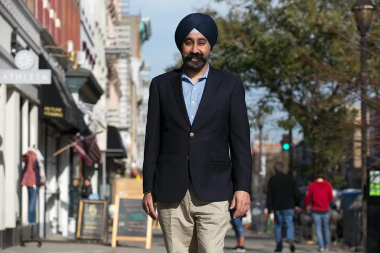 Ravi Bhalla, the mayor-elect of Hoboken, N.J., on Washington Street in the heart of the storied little city across from Lower Manhattan.