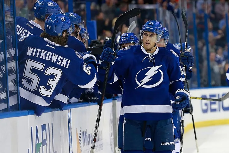 Tampa Bay Lightning center Valtteri Filppula (51) is congratulated by teammates as he scores a shorthanded goal during the third period against the New York Rangers at Amalie Arena. Tampa Bay Lightning defeated the New York Rangers 2-1.