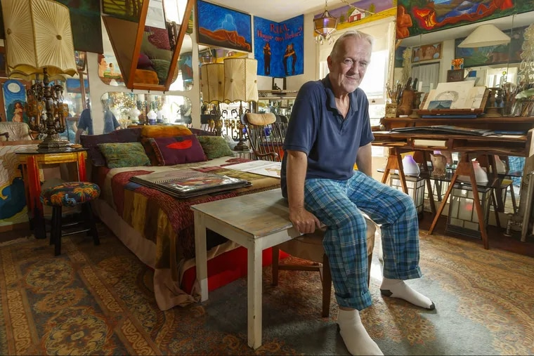 Artist Alden Cole's South Philly home is covered in his art work, from surreal oil paintings to found-object lamps.