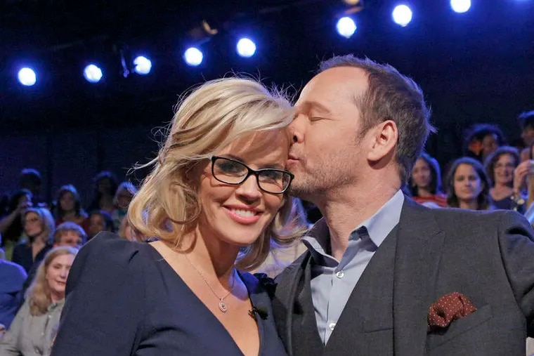"""Jenny McCarthy with fiancé Donnie Wahlberg during a taping of """"The View."""""""