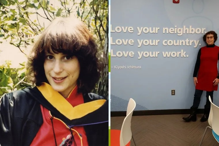 Robin Gorneau,left, at her graduation day from West Chester State College in May 1980, months before she was shot in a robbery. At right, Gorneau is in her office headquarters in Exton, Pa. in October 2019.