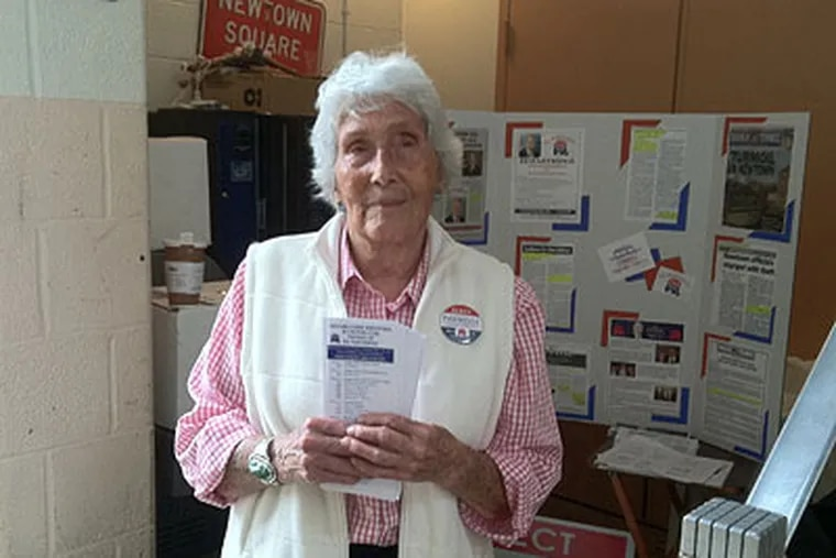 Jan Elston, 82, of Newtown Township, Delaware County, was at the center of a Republican squabble over the placement of her poster supporting a non-endorsed candidate for Supervisor. (Mari A. Schaefer / Staff)