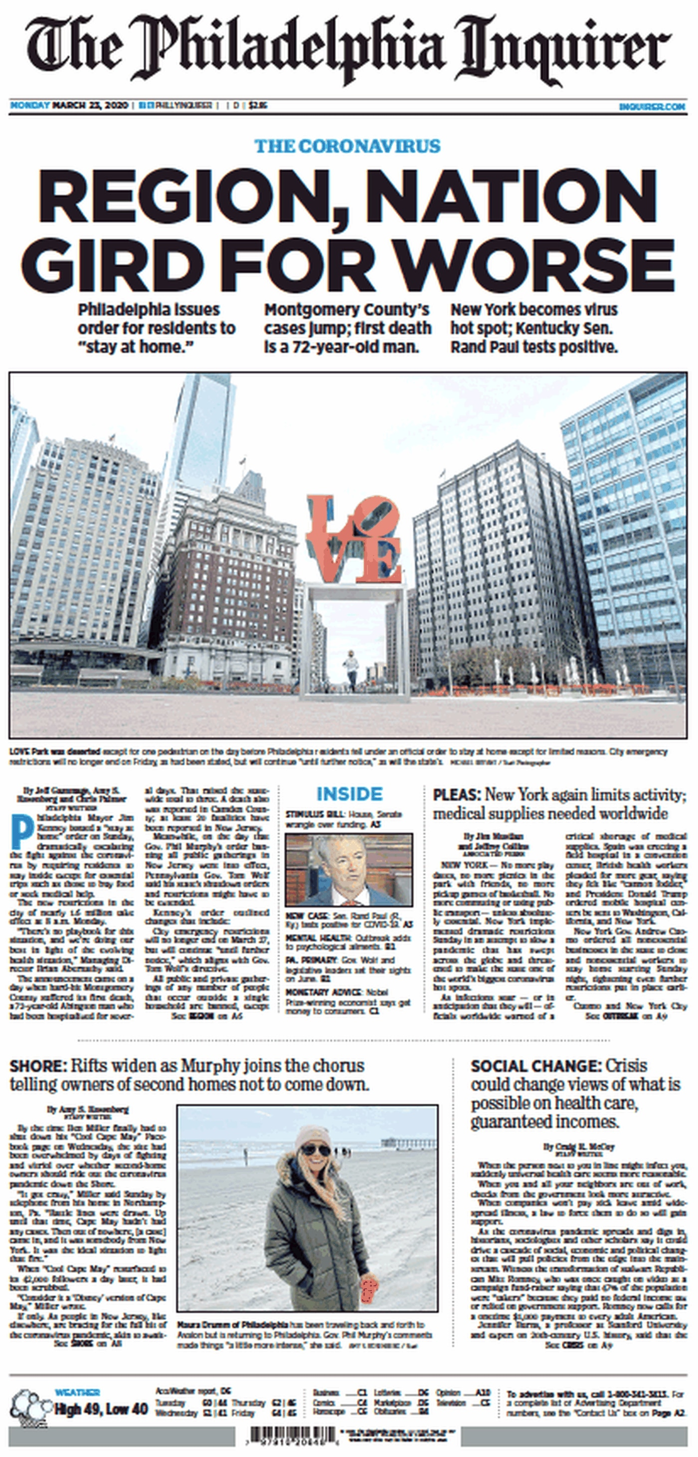 The front page of the Philadelphia Inquirer for Monday, March 23, 2020.