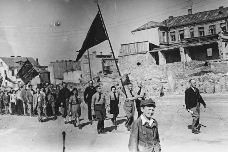 Members of the socialist Jewish Labour Bund march in a May Day parade in Bialystok, Poland, on May 1, 1934.