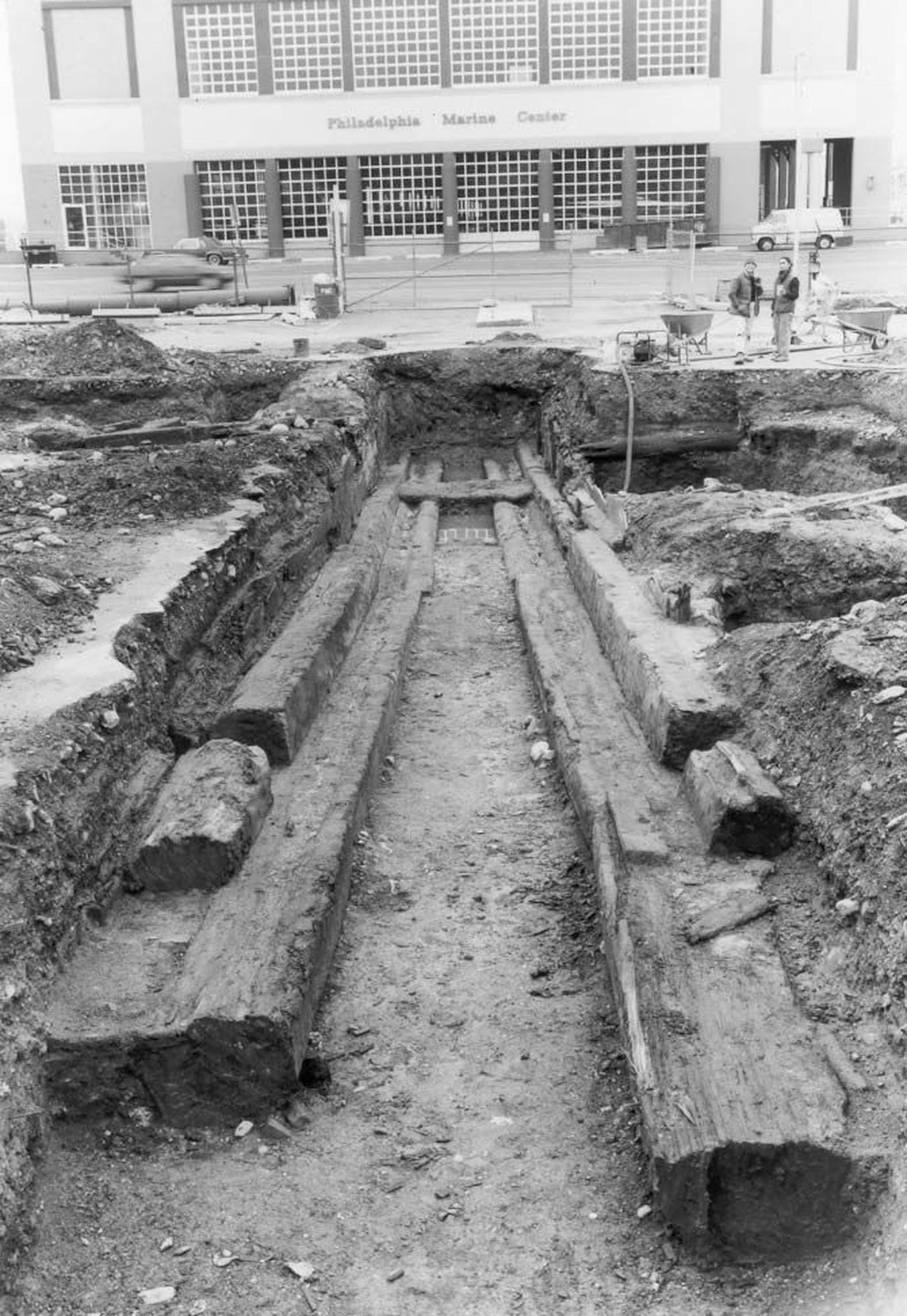 The slipway excavated during a 1987 dig at Vine Street Lot site. The Philadelphia Marine