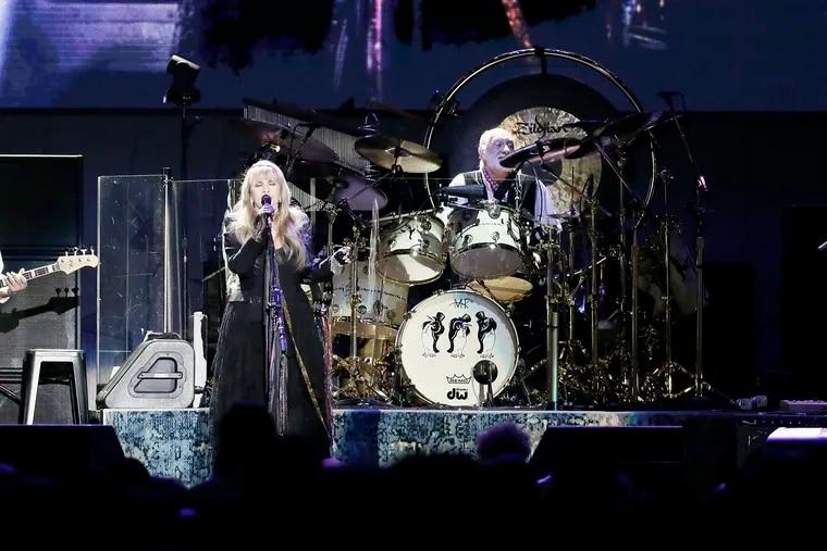 (From left)John McVie, Stevie Nicks, Mick Fleetwood and Neil Finn of Fleetwood Mac perform at Boardwalk Hall in Atlantic City on March 9.