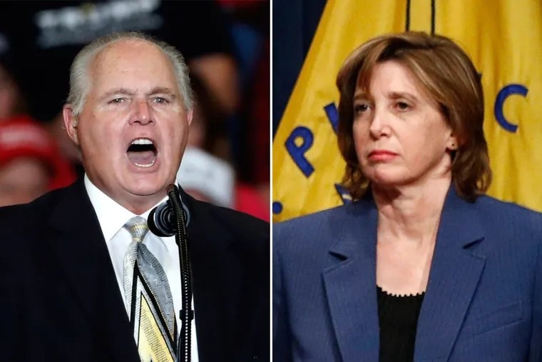 Rush Limbaugh (left) and other right-wing media figures have pushed a baseless conspiracy involving Dr. Nancy Messonnier, a top official at the CDC working on the response to the coronavirus outbreak.