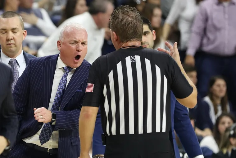 Head coach Pat Chambers of Penn State argues with an official during their game against Iowa in January at the Palestra.