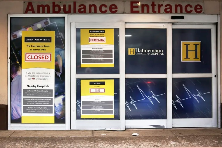 A CLOSED sign on the emergency room door at Hahnemann University Hospital on August 17, 2019.