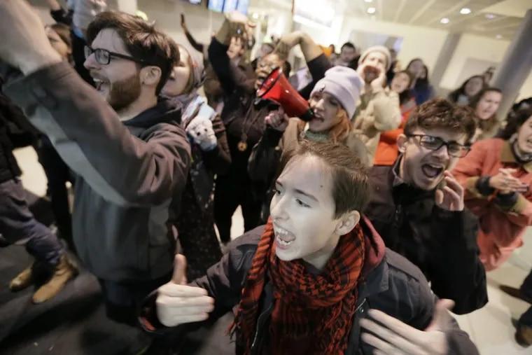 Demonstrators protest President Trump's initial travel an at Philadelphia International Airport on Jan. 29, 2017.