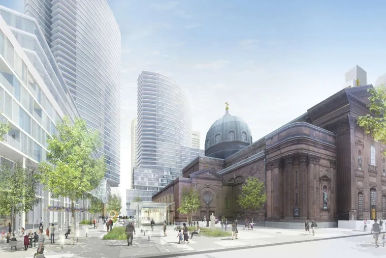 The Archdiocese of Philadelphia last year released this rendering, envisioning high-rise towers would take the place of some of its real estate holdings surrounding the Cathedral Basilica of SS. Peter and Paul.