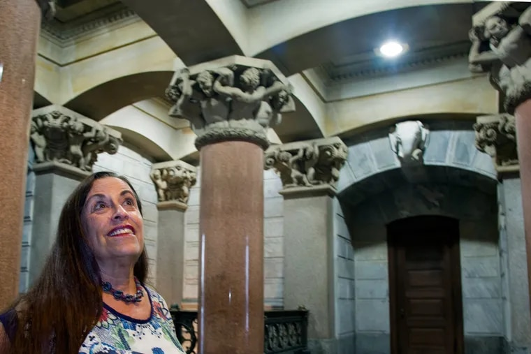 Greta Greenberger pauses in her favorite part of City Hall.