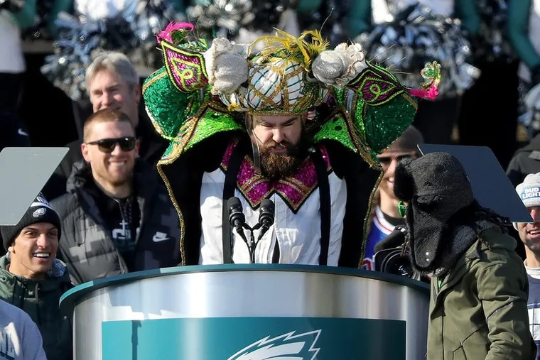 Eagles center Jason Kelce was fired up during his speech at the Eagles' Super Bowl celebration at the Art Museum.