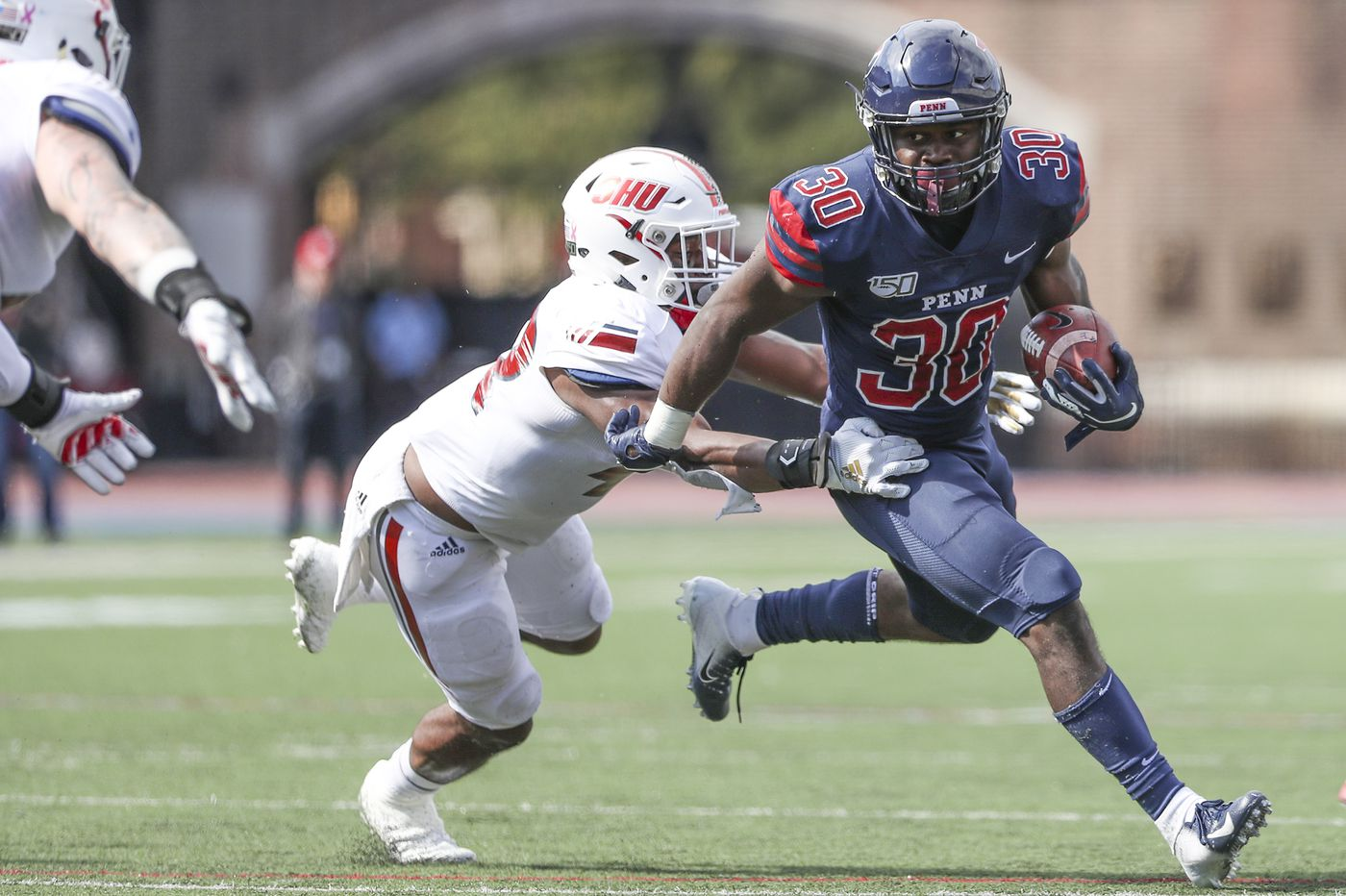 Karekin Brooks' career day leads Penn past Sacred Heart, 38-24