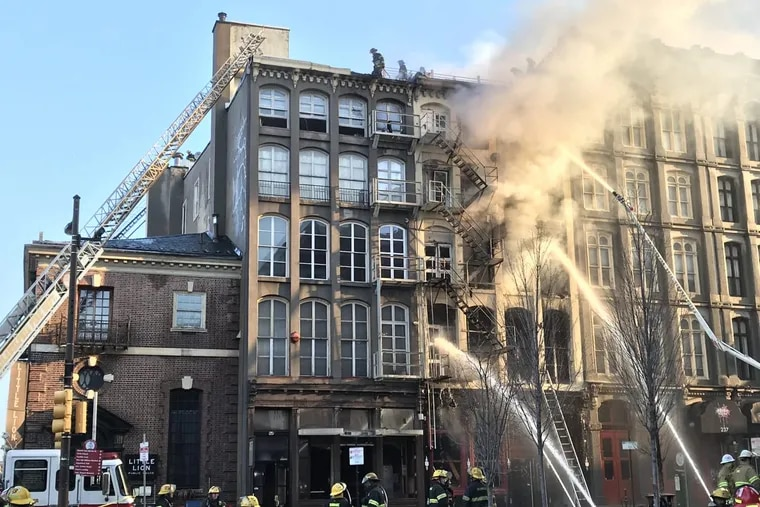 A four-alarm fire broke out early Sunday morning  on Chestnut Street between Second and Third Streets, causing the evacuation of about 150.
