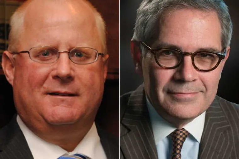 """John T. Adams, president of the Pennsylvania District Attorneys Association and current Berks County DA (left) and Larry Krasner, Philadelphia DA. Both testified in Harrisburg on 4/29/2019 on the topic legalizing marijuana for recreational use. Adams said """"recreational marijuana is not safe or harmless."""" Krasner differed, attacking the association."""
