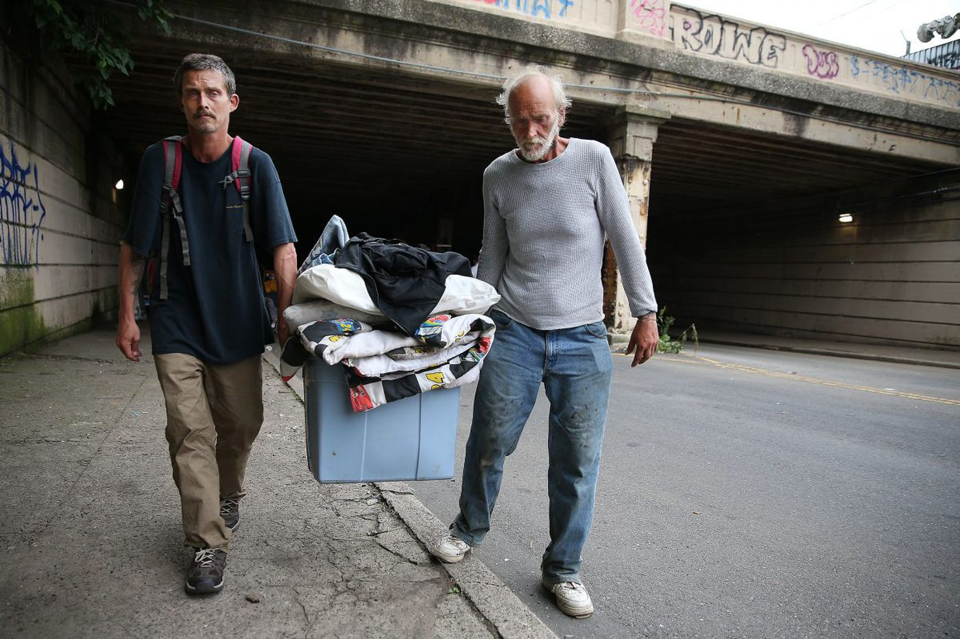 A father and son, evicted from a heroin camp, move on in Kensington | Mike Newall