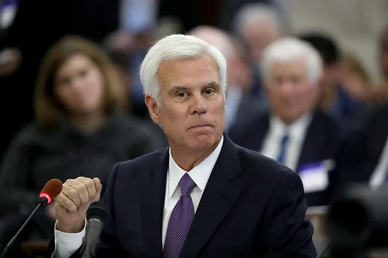 George E. Norcross III  testifies before the N.J. Senate Select Committee on Economic Growth Strategies about his role in the controversial state tax incentive program in Trenton, New Jersey on Nov. 18, 2019.