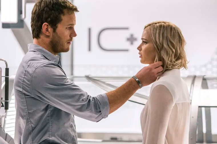 Chris Pratt and Jennifer Lawrence portray the only two people awake in the universe.